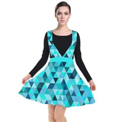Teal Triangles Pattern Plunge Pinafore Dress by LoolyElzayat