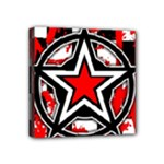 Star Checkerboard Splatter Mini Canvas 4  x 4  (Stretched)
