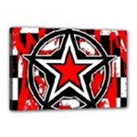Star Checkerboard Splatter Canvas 18  x 12  (Stretched)