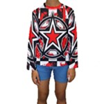 Star Checkerboard Splatter Kids  Long Sleeve Swimwear