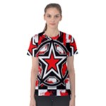 Star Checkerboard Splatter Women s Cotton Tee
