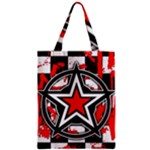 Star Checkerboard Splatter Zipper Classic Tote Bag