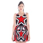 Star Checkerboard Splatter Scoop Neck Skater Dress