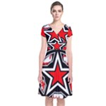 Star Checkerboard Splatter Short Sleeve Front Wrap Dress