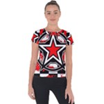 Star Checkerboard Splatter Short Sleeve Sports Top
