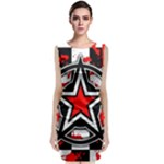 Star Checkerboard Splatter Sleeveless Velvet Midi Dress