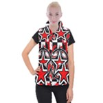 Star Checkerboard Splatter Women s Button Up Vest