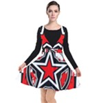 Star Checkerboard Splatter Plunge Pinafore Dress