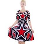 Star Checkerboard Splatter Quarter Sleeve A-Line Dress