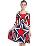 Star Checkerboard Splatter Quarter Sleeve Waist Band Dress