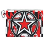 Star Checkerboard Splatter Canvas Cosmetic Bag (XL)