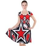 Star Checkerboard Splatter Cap Sleeve Midi Dress