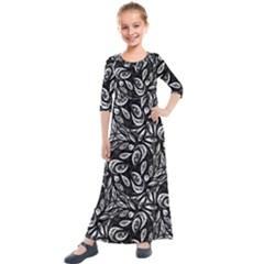 Fabric Pattern Flower Kids  Quarter Sleeve Maxi Dress by Bajindul