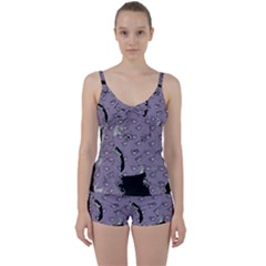 Wide Eyed Girl Grey Lilac Tie Front Two Piece Tankini by snowwhitegirl