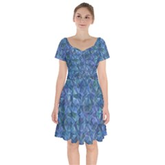 Background Blue Texture Short Sleeve Bardot Dress