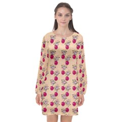 Cherries An Bats Peach Long Sleeve Chiffon Shift Dress  by snowwhitegirl