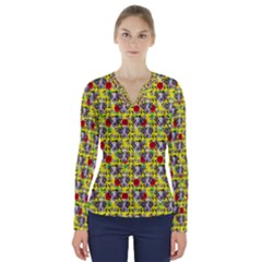 Heart Skeleton Face Pattern Yellow V Neck Long Sleeve Top
