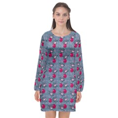 Cherries An Bats Long Sleeve Chiffon Shift Dress  by snowwhitegirl