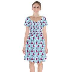 Cherries An Bats Aqua Short Sleeve Bardot Dress by snowwhitegirl