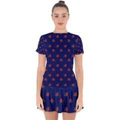 Red Rose Blue Drop Hem Mini Chiffon Dress by snowwhitegirl