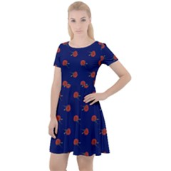 Red Rose Blue Cap Sleeve Velour Dress  by snowwhitegirl