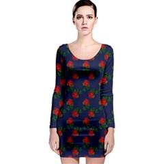 Red Roses Dark Blue Long Sleeve Bodycon Dress