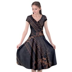 Fractals Abstraction Tla Designs Cap Sleeve Wrap Front Dress