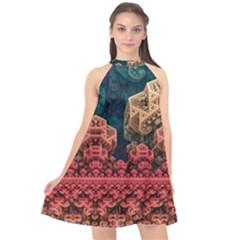Fractals 3d Graphics Designs Halter Neckline Chiffon Dress