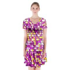 Funky Sequins Short Sleeve V Neck Flare Dress by essentialimage