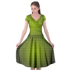 Hexagon Background Plaid Cap Sleeve Wrap Front Dress