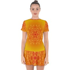 Fractal Yellow Orange Drop Hem Mini Chiffon Dress