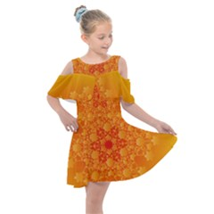 Fractal Yellow Orange Kids  Shoulder Cutout Chiffon Dress by Jojostore