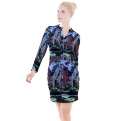 Hot Day In Dallas 7 Button Long Sleeve Dress