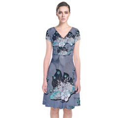 Sport, Surfboard With Flowers And Fish Short Sleeve Front Wrap Dress