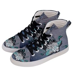 Sport, Surfboard With Flowers And Fish Women s Hi-top Skate Sneakers by FantasyWorld7