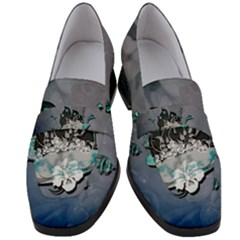 Sport, Surfboard With Flowers And Fish Women s Chunky Heel Loafers by FantasyWorld7