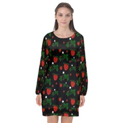 Strawberries Pattern Long Sleeve Chiffon Shift Dress