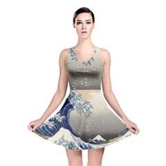 Image Woodblock Printing Woodcut Reversible Skater Dress