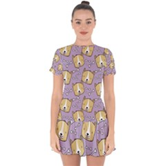 Corgi Pattern Drop Hem Mini Chiffon Dress
