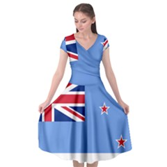 Proposed Flag Of The Ross Dependency Cap Sleeve Wrap Front Dress
