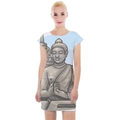 Borobudur Temple Cap Sleeve Bodycon Dress