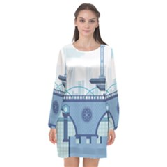 Blue City Building Fantasy Long Sleeve Chiffon Shift Dress  by Sudhe
