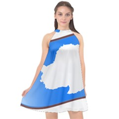 Waving Proposed Flag Of Antarctica Halter Neckline Chiffon Dress