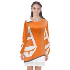 Waving Proposed Flag Of Antarctica Long Sleeve Chiffon Shift Dress