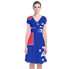 Flag Of The French Southern And Antarctic Lands, 1958 Short Sleeve Front Wrap Dress