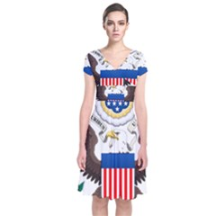 Greater Coat Of Arms Of The United States Short Sleeve Front Wrap Dress