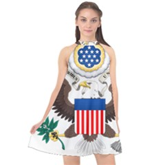 Greater Coat Of Arms Of The United States Halter Neckline Chiffon Dress