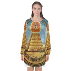 Great Seal Of The United States   Reverse Long Sleeve Chiffon Shift Dress