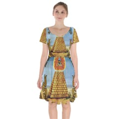 Great Seal Of The United States   Reverse Short Sleeve Bardot Dress