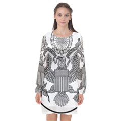 Black & White Great Seal Of The United States   Obverse  Long Sleeve Chiffon Shift Dress